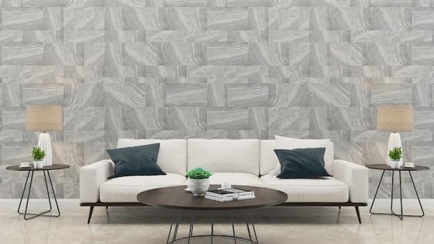 Modèle de fond de maison de salon de canapé blanc de mur de marbre de marbre Photo Premium