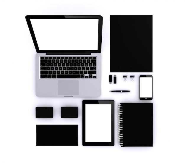 Modèle noir pour l'identité d'entreprise Photo Premium