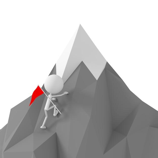 Modèle de personnes grimpant à la montagne Photo Premium