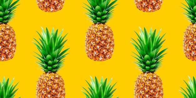 Modèle sans couture d'ananas sur fond jaune Photo Premium