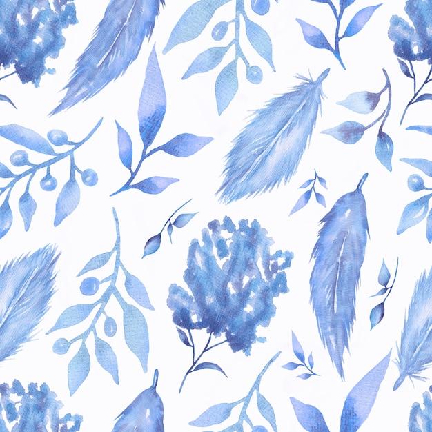 Modèle Sans Couture Aquarelle Avec Fleurs Et Plumes De Couleur Bleu Tendance Photo Premium