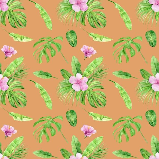 Modèle Sans Couture Aquarelle Illustration De Feuilles Tropicales Et Hibiscus De Fleurs. Photo Premium