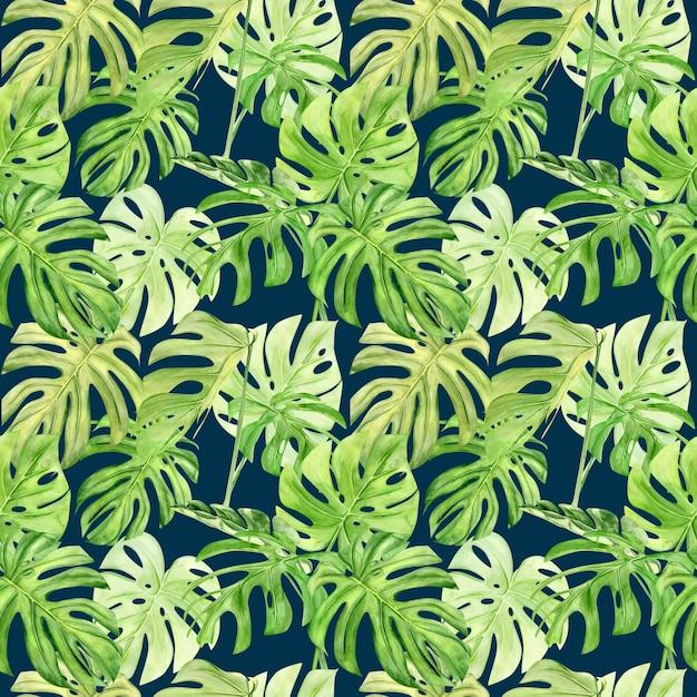 Modèle Sans Couture Aquarelle Illustration De Monstera Feuille Tropicale. Photo Premium