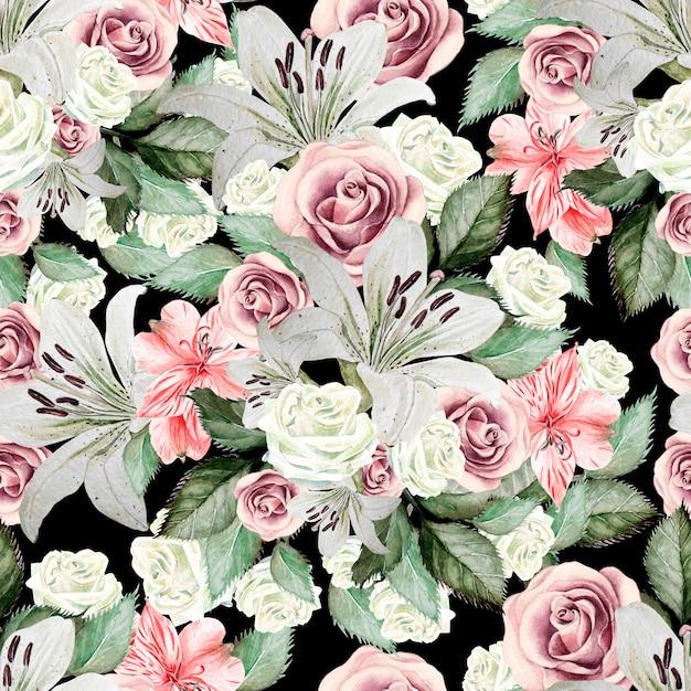 Modèle Sans Couture Aquarelle Lumineux Avec Fleurs Lis, Roses, Feuilles Et Alstroemeria Photo Premium