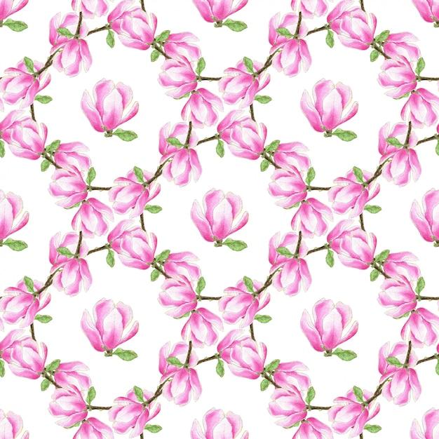 Modèle sans couture aquarelle magnolia. texture de fleurs rose fashion. peut être utilisé pour l'emballage, le tissu et le textile, le papier peint et la conception d'emballage Photo Premium