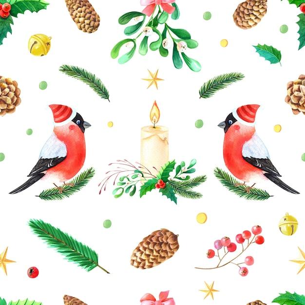 Modèle Sans Couture Aquarelle De Noël. Bouvreuil. Oiseau Robin D'hiver Avec Des Plumes De Poitrine Rouges. Photo Premium