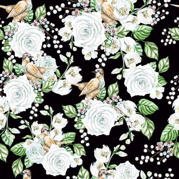Modèle Sans Couture Aquarelle Avec Roses Blanches Et Fleurs De Jasmin, Oiseaux. Illustration Photo Premium