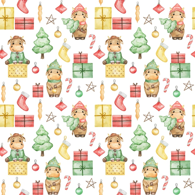 Modèle Sans Couture Aquarelle De Taureaux De Noël 2021, Fond De Nouvel An Mignon, Papier Peint De Noël Dessin Animé, Impression Textile De Noël Photo Premium