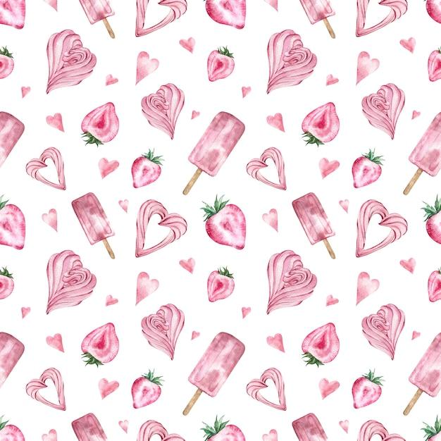 Modèle Sans Couture Avec Bonbons Roses, Crème Glacée, Fraise En Forme De Coeur, Guimauve. Photo Premium