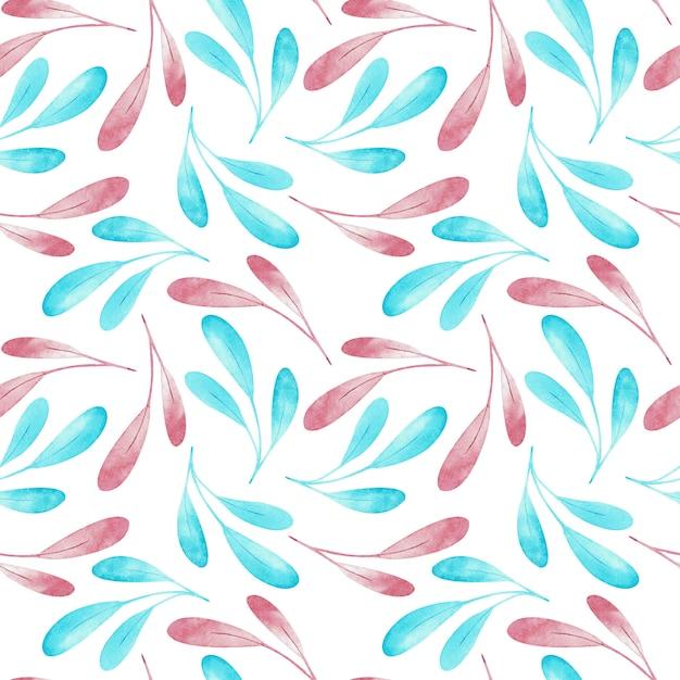 Modèle sans couture de branches roses et bleues isolé sur fond blanc. illustration aquarelle Photo Premium