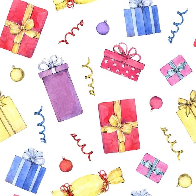 Modèle Sans Couture Avec Des Cadeaux De Noël. Peint à L'aquarelle à La Main. Photo Premium