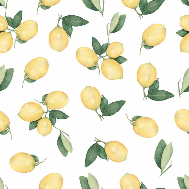 Modèle sans couture avec citrons agrumes sur une branche avec des feuilles vertes Photo Premium