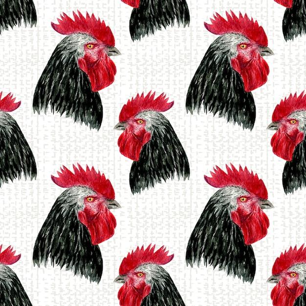 Modèle sans couture de coq. aquarelle oiseaux de ferme Photo Premium
