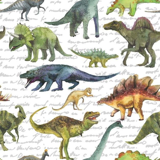 Modèle sans couture dessiné de main avec dinosaurus. motif dino réaliste. Photo Premium