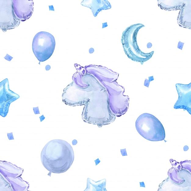 Modèle sans couture enfants bleu avec des ballons brillants brillants, des étoiles et une licorne Photo Premium
