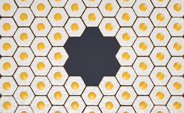 Modèle Sans Couture Hexagonal Fait D'oeufs Frits, Avec Un Espace Pour Les Titres # 2 Photo Premium