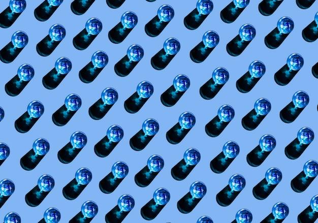Modèle sans couture de lunettes bleues avec ombre sur fond coloré Photo gratuit