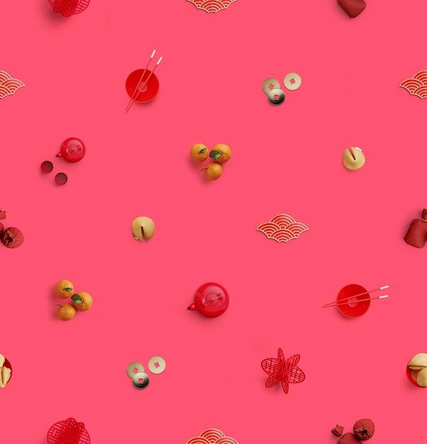 Modèle Sans Couture. Mise à Plat Des éléments Chinois Traditionnels Sur Une Surface Rose. Illustration De Rendu 3d. Photo Premium