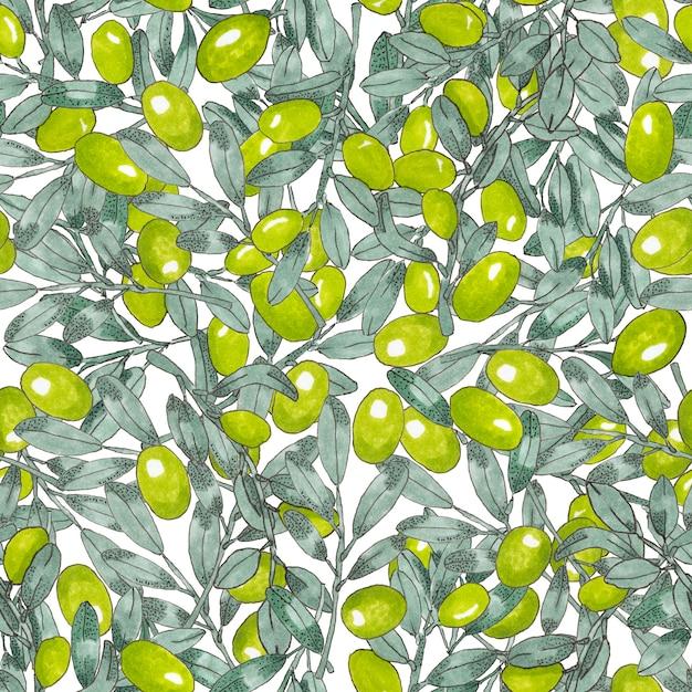 Modèle sans couture d'olives grecques Photo Premium