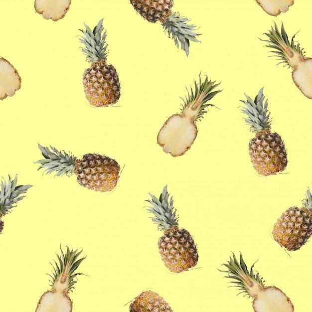 Modèle sans couture avec une photo de citron, citron vert et menthe. Photo Premium