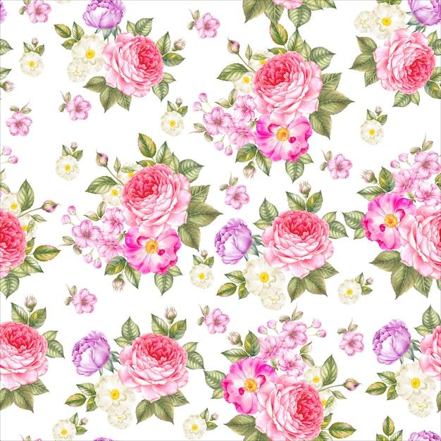 Modèle sans couture de roses Photo Premium