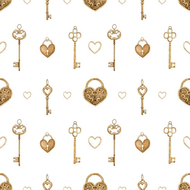 Modèle Sans Couture Avec Touches Dorées Vintage Et Serrures En Forme De Coeur. Illustration Aquarelle. Photo Premium