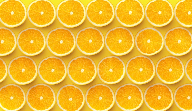 Modèle De Tranches D'orange Fraîches Sur Fond Coloré Photo Premium