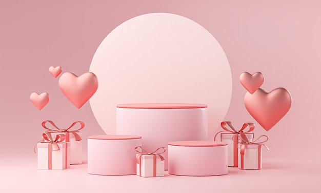 Modèle En Trois étapes Valentine Wedding Love Heart Shape And Gift Box Rendu 3d Photo Premium