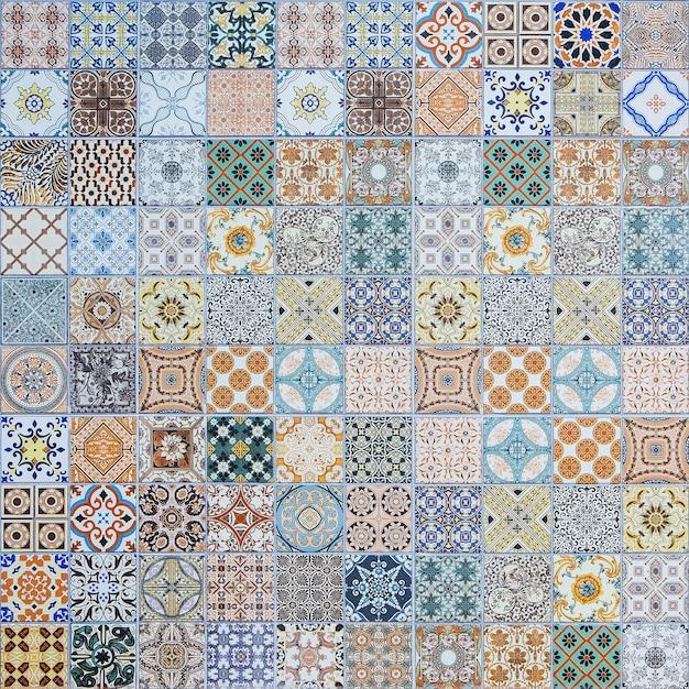 Modèles De Carreaux De Céramique Du Portugal. Photo Premium
