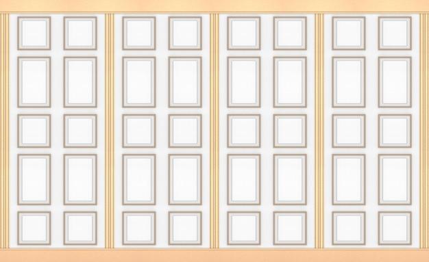 Modélisme de cadre classique carré or moderne sur fond de mur vintage bois blanc. Photo Premium