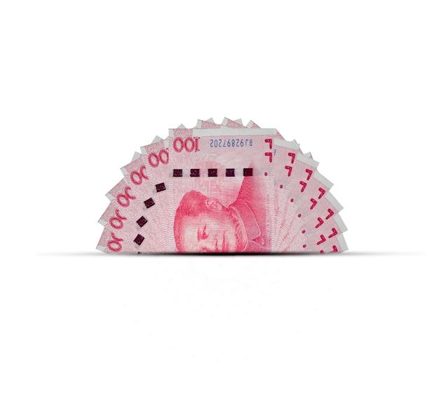 Une moitié du billet de banque en yuan chinois. le yuan est la monnaie mondiale et populaire pour les échanges avec d'autres. Photo Premium