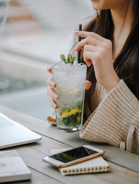 Mojito classique avec glace et menthe Photo gratuit