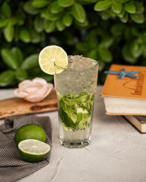 Mojito à la lime avec des feuilles de menthe et des glaçons dans un verre. Photo gratuit