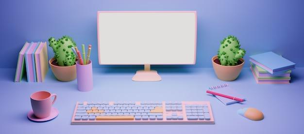 Moniteur et clavier sur le bureau ou l'ordinateur, rendu 3d ou illustration couleur pastel Photo Premium