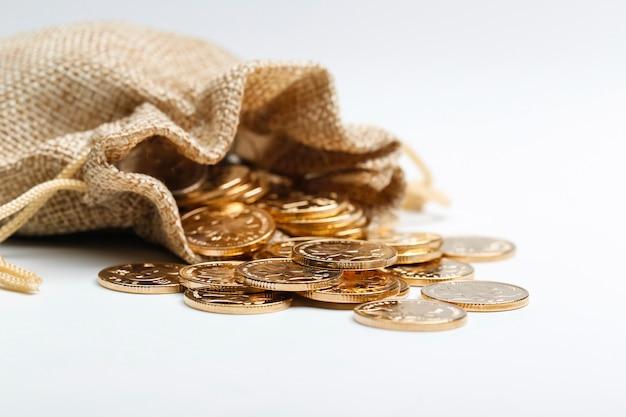 Monnaies Rmb D'or En Sac En Tissu Photo gratuit