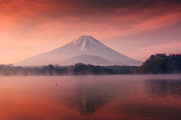 Montagne fuji et lac shoji à l'aube Photo Premium