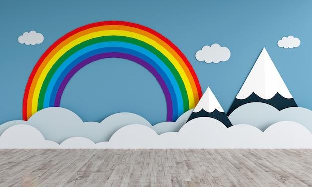 Montagnes et arc-en-ciel dans la chambre des enfants vide pour maquette Photo Premium