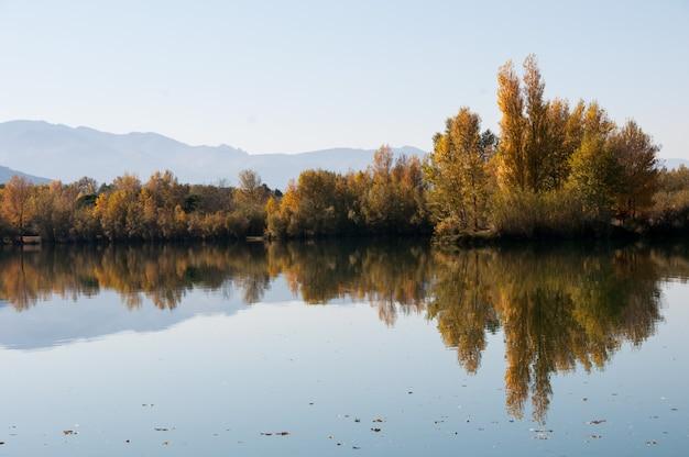 Montagnes Tranquilles Beauté Coiffée De Pics Bleus Photo Premium