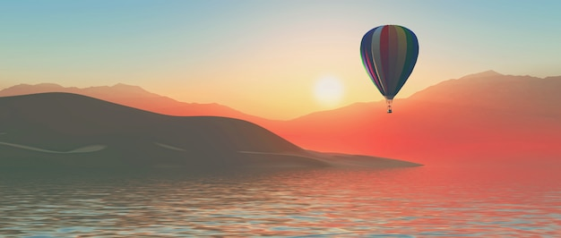 Montgolfière 3d au coucher du soleil Photo gratuit