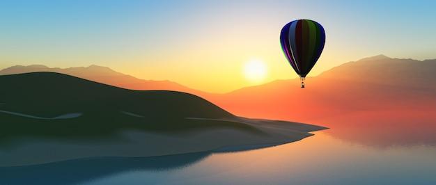 Montgolfière au coucher du soleil Photo gratuit