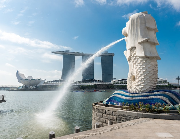 Monument historique de singapour merlion Photo Premium