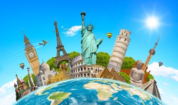 Monuments célèbres du monde entourant la planète terre Photo Premium