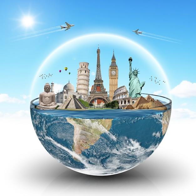 Monuments du monde dans un verre d'eau Photo Premium