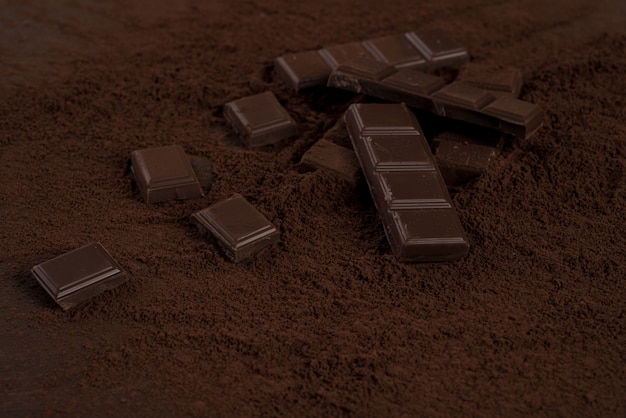 Morceaux De Barre De Chocolat Recouverts De Poudre De Chocolat Photo gratuit