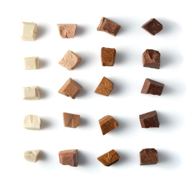 Morceaux De Chocolat Au Lait Différents Photo Premium
