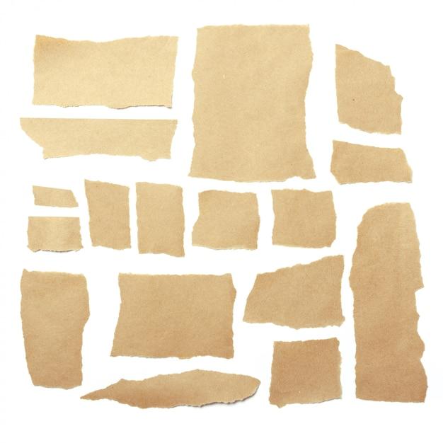 Morceaux De Papier Déchirés Bruns Photo Premium