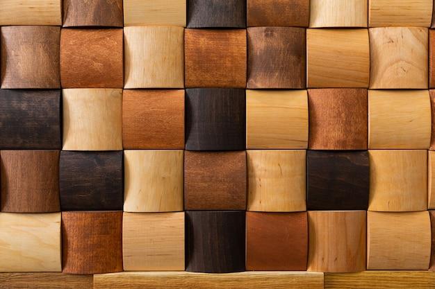 Mosaïque de bois gros plan, décoration murale. design moderne, texture naturelle du bois Photo Premium