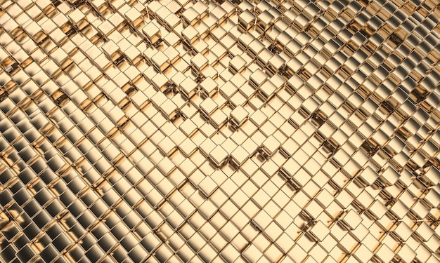 Mosaïque De Couleur Or Avec Des Formes Géométriques Cubiques, Orientation Diagonale. Rendu 3d. Photo Premium