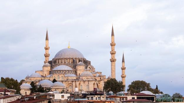 Mosquée Rustem Pacha Avec Tours Par Temps Nuageux, Toits Des Bâtiments Au Premier Plan à Istanbul, Turquie Photo Premium