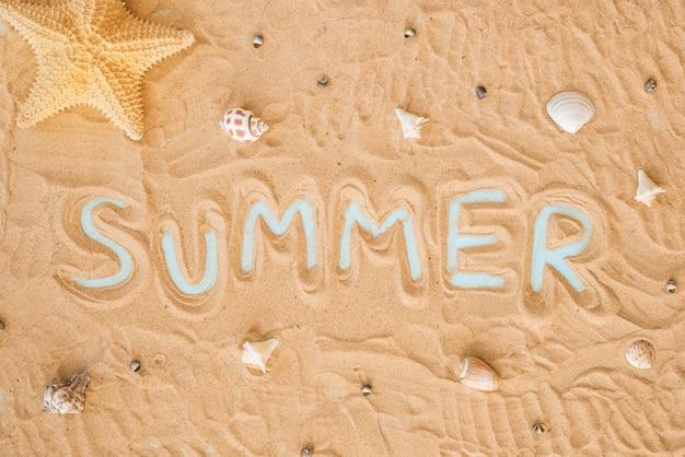 Mot d'été et coquillages sur le sable Photo gratuit